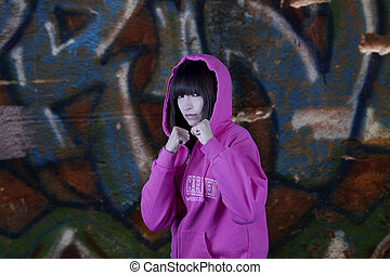 Hip hop girl and graffiti - Tough hip hop girl and a...