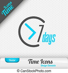 7 Days Icon Vector Design Elements - Time icon 7 days symbol...