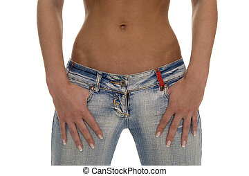 beauty - Bodypart of an woman with nice belly and jeans