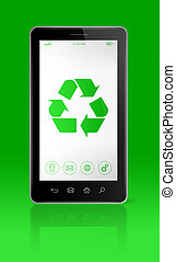 Smartphone with a recycling symbol on screen. environmental conservation concept