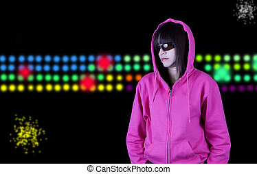 Hip hop girl - Tough hip hop girl and a colorful background