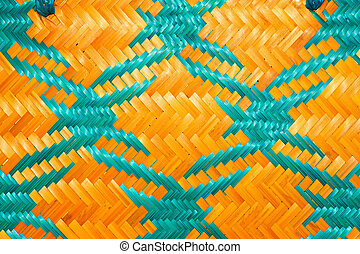 Close up woven bamboo pattern handbags and basketry passing...