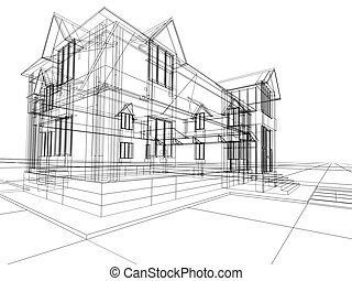 wireframe of cottage - 3D rendering wire-frame of house...