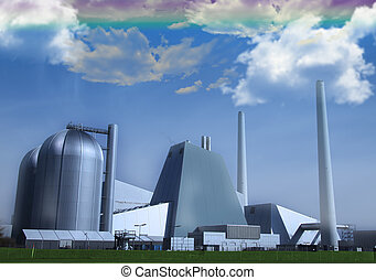 Fantasy factory - Fantasy powerplant with rainbow sky