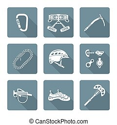 white monochrome various alpinism tools icons collection -...