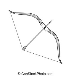 outline medieval bow arrow icon illustration - vector...