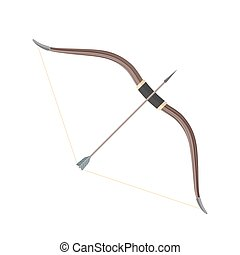 flat style colored medieval bow arrow icon illustration -...