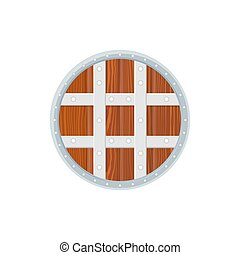 flat style colored medieval round shield icon illustration -...