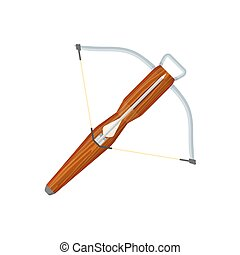 flat style colored medieval crossbow arrow icon illustration...