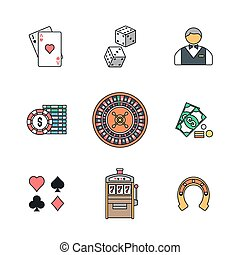 colored outline various gambling icons collection