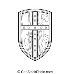 outline medieval shield with cross icon illustration