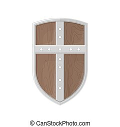 flat style colored medieval shield with cross icon...