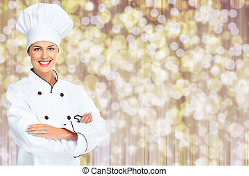 Chef woman - Beautiful Chef woman over abstract Christmas...
