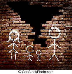 Family broken apart - Couple with children stick figures on...