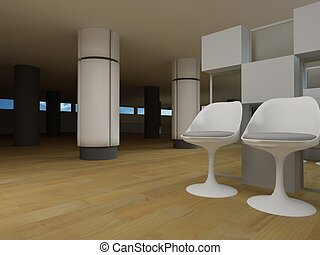 Hospital waiting room, conceptual architecture, clean space