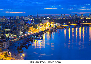Night panorama of Kiev - Kiev - Capital of Ukraine. View of...