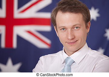businessman over australian flag - smiling businessman...
