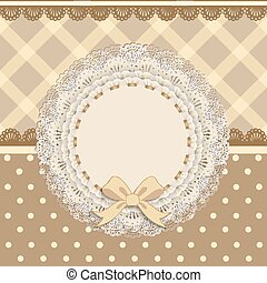 background card with a cloth napkin and bow - vintage frame...