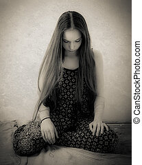 Teenage Girl With Extremely Long Hair In Black And White -...