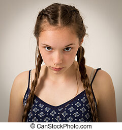 Beautiful Teenage Girl With Plaits and Onesie - Studio...