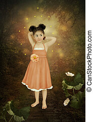 Girl and fireflies - Little girl in a magical forest and...