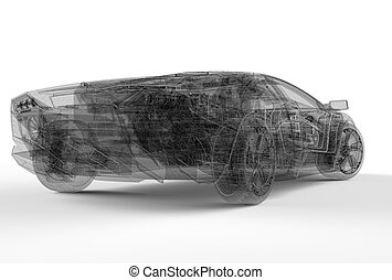 Back of wireframe car