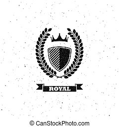 laurel wreath, shield and crown - vector illustration with...