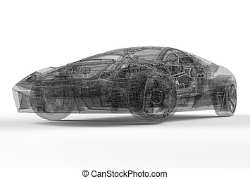 Front of wireframe car