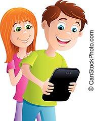 Kid Looking at a Digital Tablet - Cartoon illustration of a...