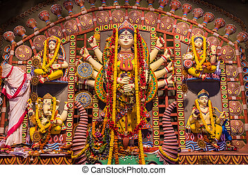 Clay idols in Durga Puja - Beautiful clay idols of Durga,...