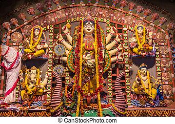 Clay idols in Durga Puja - Beautiful clay idols of Durga,...