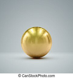 3D golden sphere - 3D metallic sphere with reflections...