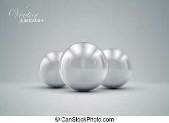 3D metallic spheres with reflections Vector realistic...