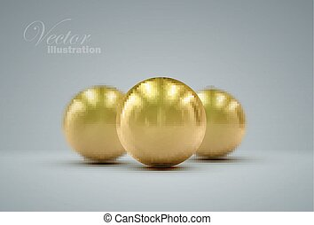 3D golden spheres - 3D metallic sphere with reflections...