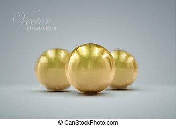 3D golden spheres - 3D metallic sphere with reflections....