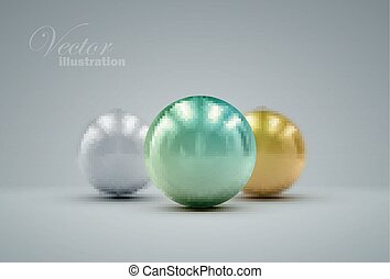 3D metallic spheres - 3D metallic sphere with reflections or...