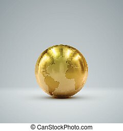 3D metallic globe - 3D metallic sphere with reflections...