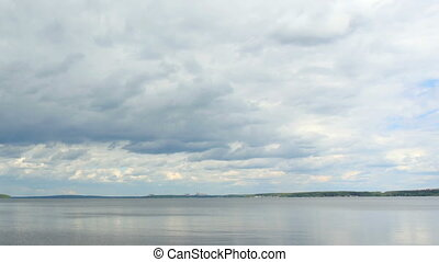 clouds over the Beloyarsk reservoir - Movement of clouds...
