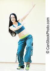 baile, instructor, hacer, bailando, ejercicios,