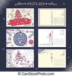 Set post card New Year 2016 Vintage card painted by hand