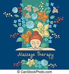 Massage therapy Vector element design, set logos for beauty...