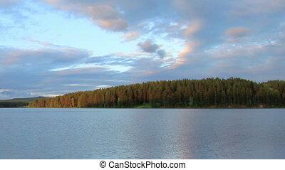 Sunset on the river Revda Pochinok village, Sverdlovsk...