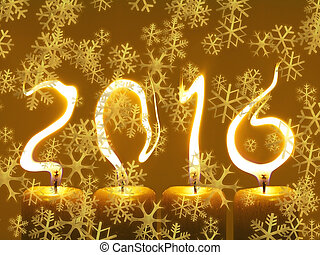 Happy new year 2016 - snowflakes - Modified photo of four...