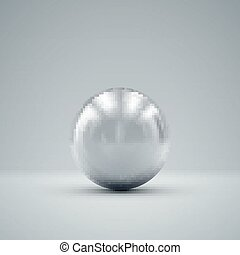3D metallic sphere with reflections Vector realistic...