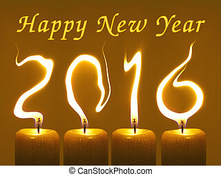 Happy new year 2016 - Modified photo of four candles. Flames...