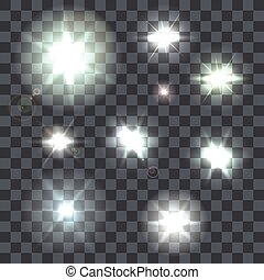 Set of vector lens flares beams and flashes on transparent...