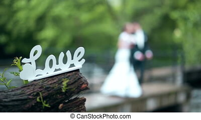 Decorative inscription love with bride and groom -...