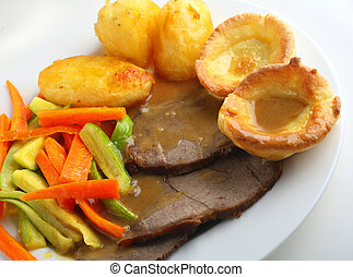 Roast beef meal - Traditional English meal of roast beef and...