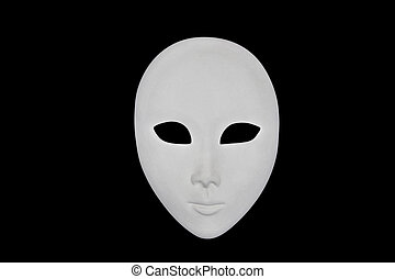 White face mask isolated over black background. Frontal...