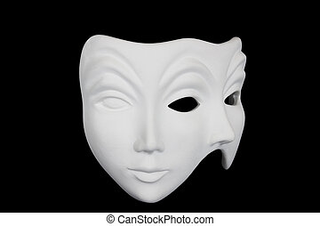 Double face white mask isolated over black background 34...